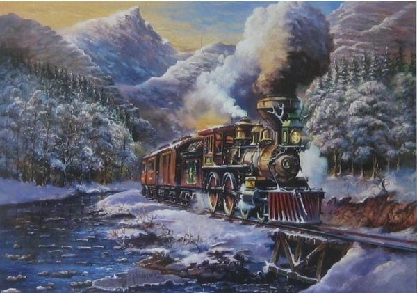 'American Steam Train' Wentworth Wooden Jigsaw Puzzle