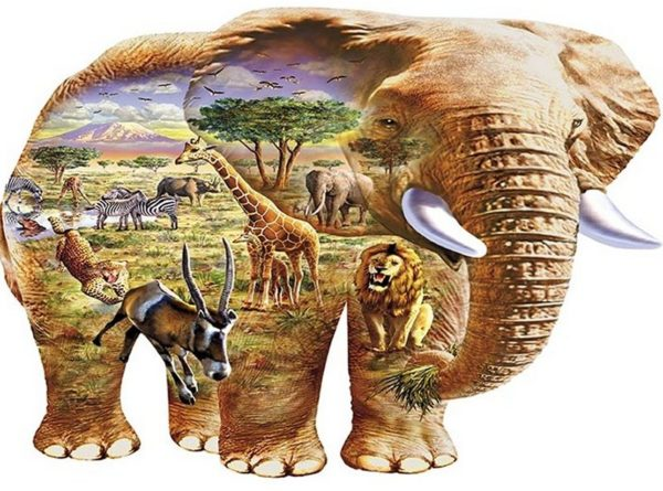 'ELEPHANT SAVANNA' AFRICA Wentworth Wooden Jigsaw Puzzle