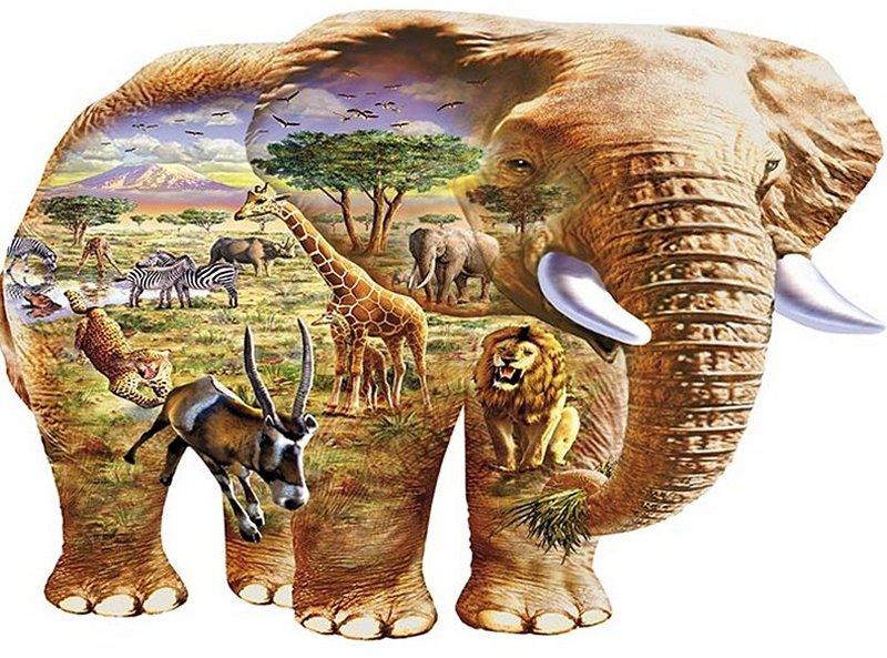 'ELEPHANT SAVANNA' AFRICA Wentworth Wooden Jigsaw Puzzle
