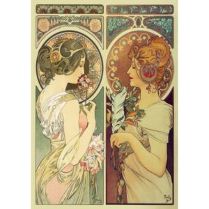 'Feather & Cowslip' by Mucha (Art Nouveau) Wentworth Wooden Jigsaw Puzzle