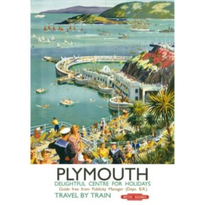 'Plymouth Devon' Wentworth Wooden Jigsaw Puzzle Vintage Railway Poster