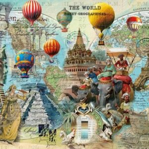 'WORLD MONTAGE' Wentworth Wooden Jigsaw Puzzle