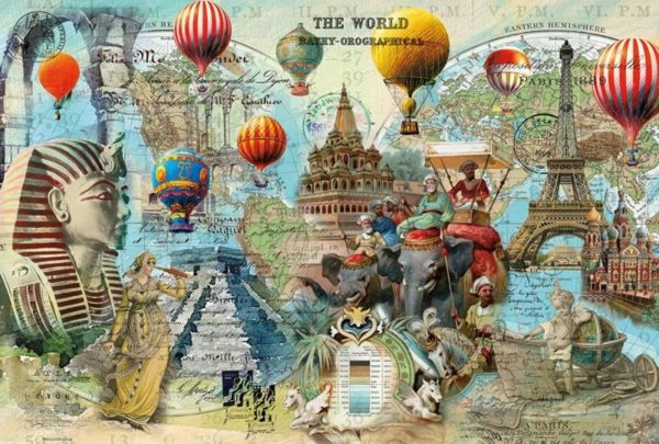 'WORLD MONTAGE' Wentworth Wooden Jigsaw Puzzle