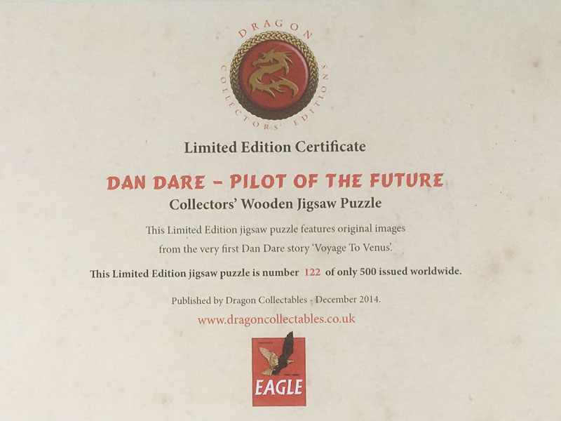 'Dan Dare' Collector's Wooden Jigsaw Puzzle Limited Edition Certificate