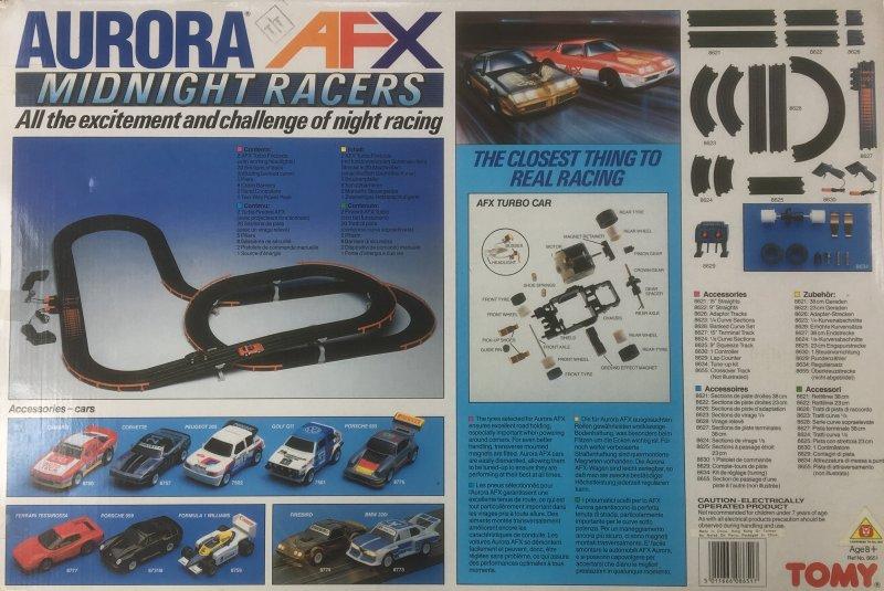 Vintage AURORA AFX MIDNIGHT RACERS Slot Car Racing Set