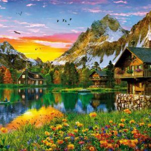 'ALPINE LAKE' Wentworth Wooden Jigsaw Puzzle