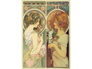 'FEATHER AND COWSLIP' ART NOUVEAU Wentworth Wooden Jigsaw Puzzle