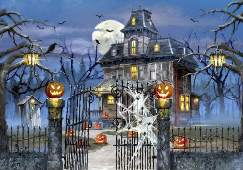 'HAUNTED HOUSE' (HALLOWEEN) Wentworth Wooden Jigsaw Puzzle
