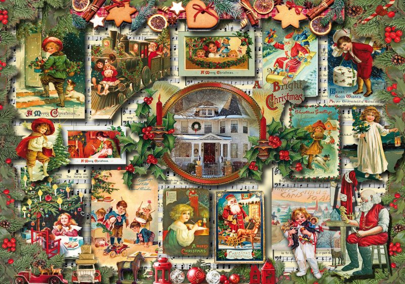 'VINTAGE GREETINGS' (CHRISTMAS CARDS) Wentworth Wooden Jigsaw Puzzle