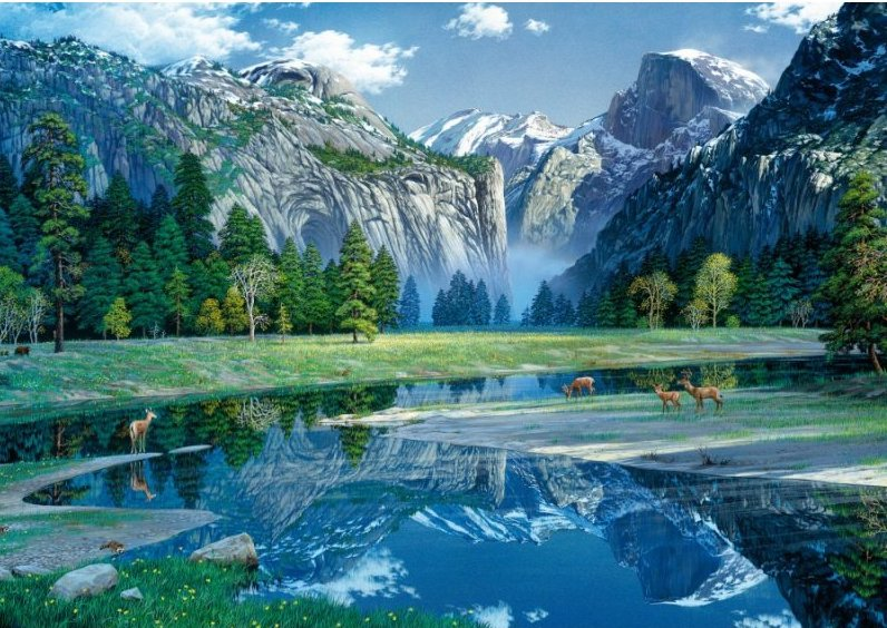 'YOSEMITE IN SPRING' Wentworth Wooden Jigsaw Puzzle