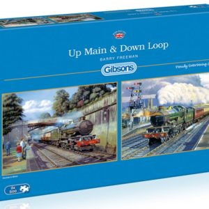 UP MAIN DOWN LOOP Steam Train Jigsaw Puzzle 2 x 500 Gibsons Barry Freeman box