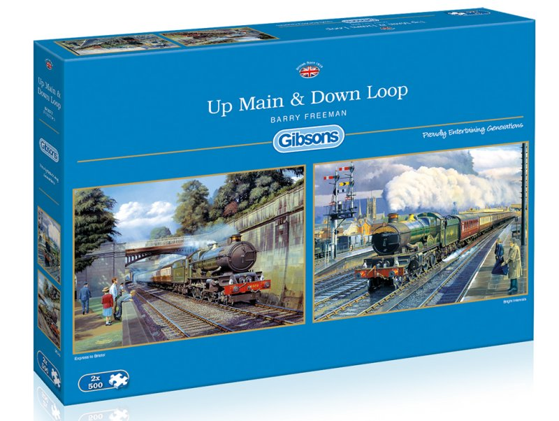 UP MAIN DOWN LOOP Steam Train Jigsaw Puzzle 2 x 500 Gibsons Barry Freeman box