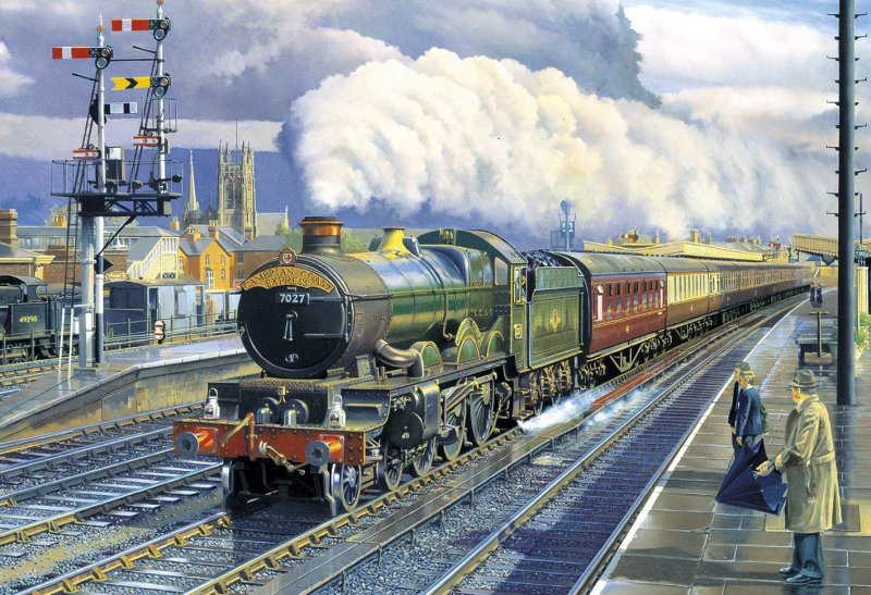 UP MAIN DOWN LOOP BRIGHT INTERVALSSteam Train Jigsaw Puzzle 2 x 500 Gibsons Barry Freeman