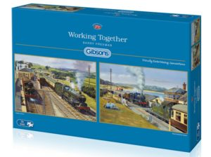 WORKING TOGETHER Steam Train Jigsaw Puzzle 2 x 500 Gibsons Barry Freeman box