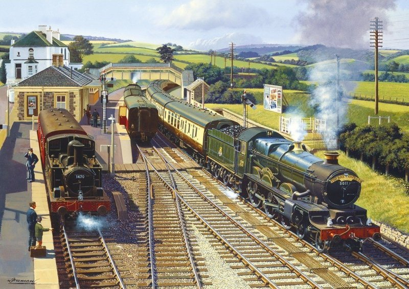 CASTLE COUNTRY WORKING TOGETHER Steam Train Jigsaw Puzzle 2 x 500 Gibsons Barry Freeman