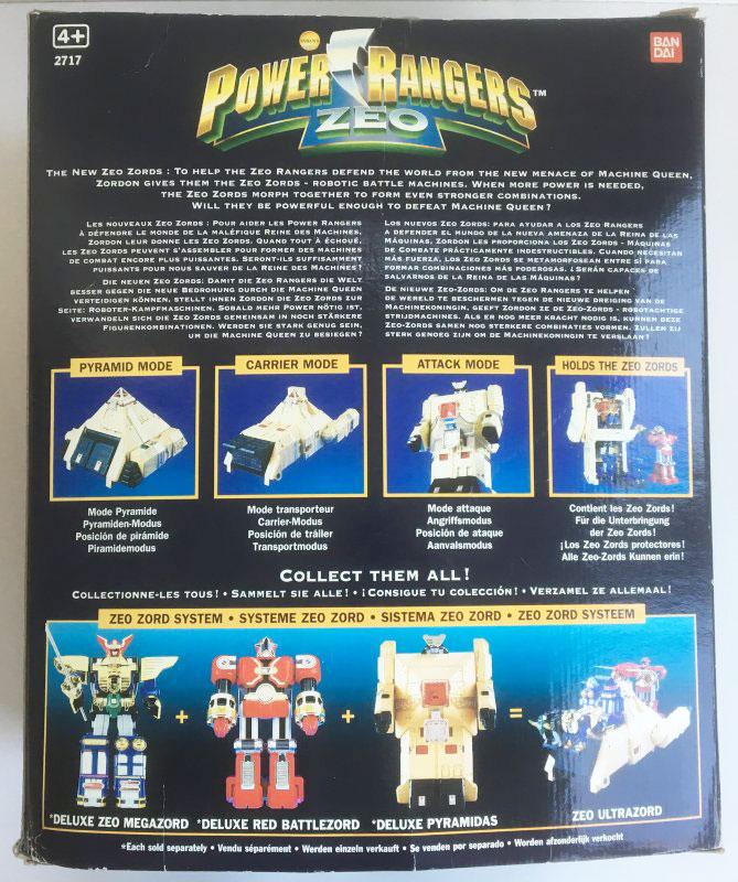 VINTAGE POWER RANGERS ZEO 'DELUXE PYRAMIDAS' Carrier Zord (Bandai 1996) box