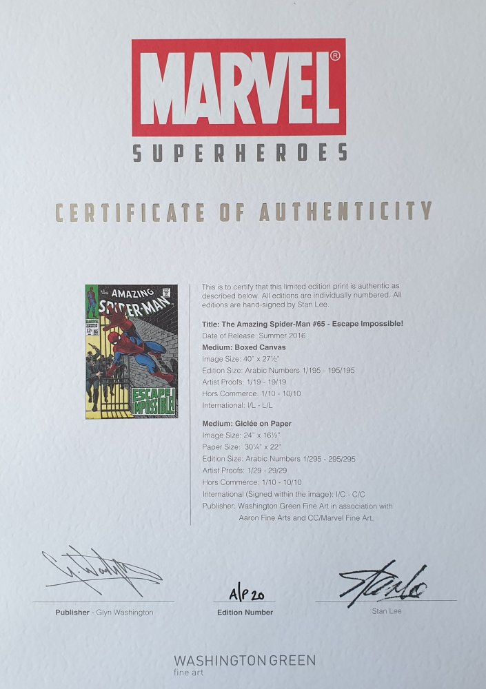 'Amazing Spider-Man 65' Signed Print Certificate of Authenticity
