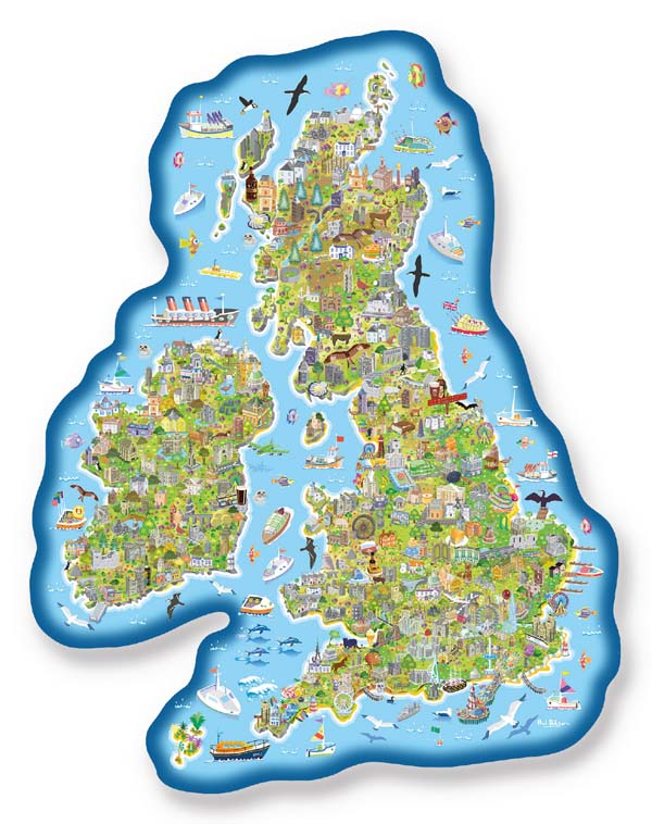 Jig-Map Britain and Ireland Jigsaw Puzzle Gibsons