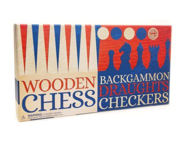 CHESS DRAUGHTS AND BACKGAMMON SET
