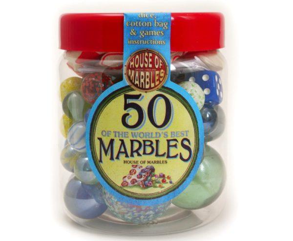JAR OF 50 MARBLES