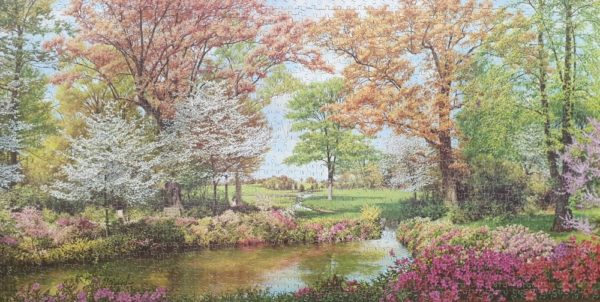 BURST OF SPRING Vintage Victory Gold Box Wooden Jigsaw Puzzle 2000 pieces