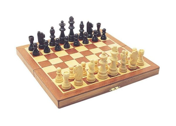 WOODEN CHESS SET with folding book-style board