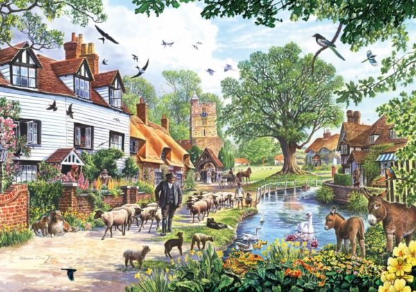 VILLAGE IN SPRING Wentworth Wooden Jigsaw Puzzle