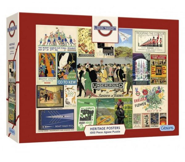 VINTAGE LONDON TRANSPORT HERITAGE POSTERS Jigsaw Puzzle 1000 pieces Gibsons